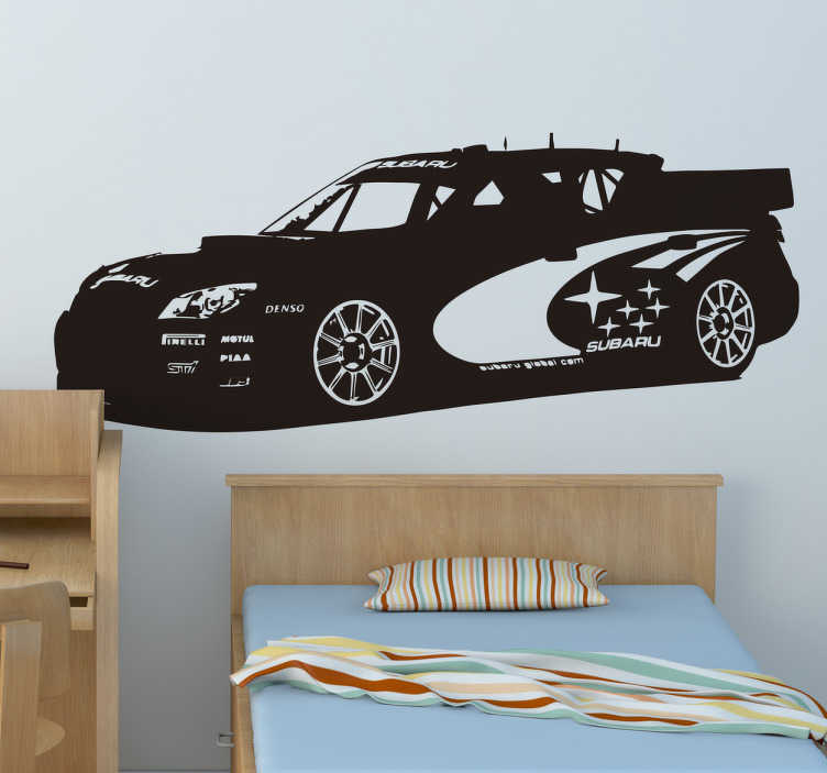 TenStickers. Silhuet klistermærke bil rally Subaru. Silhuet klistermærke bil rally Subaru - Til dig der er vild med biler og rallys, så er denne wallsticker helt perfekt til dig.