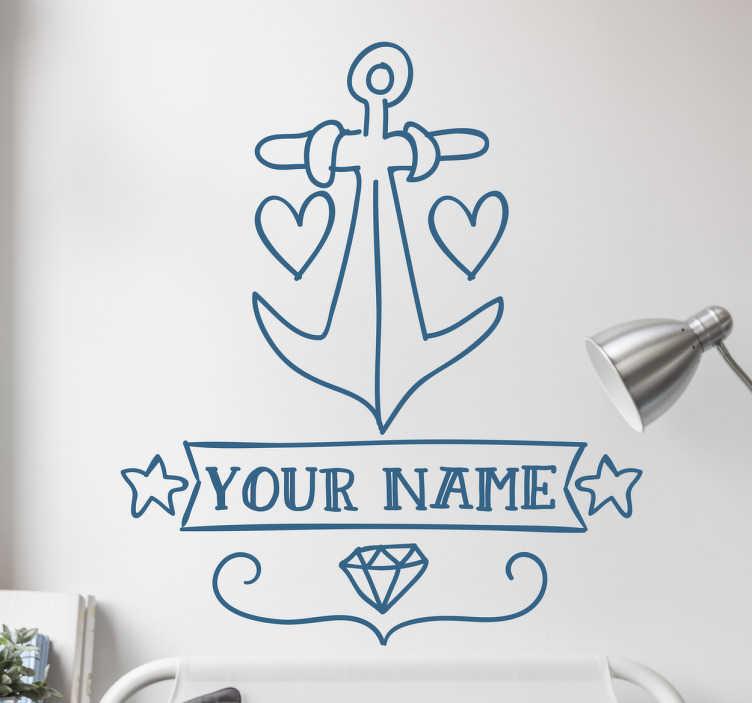 TenVinilo. Vinilo ancla tatuaje personalizable nombre. Vinilo tatuaje que muestra la ilustración a mano alzada de un ancla marinera rodeada de corazones, diamantes y estrellas.