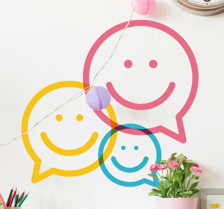TenStickers. Colourful Happy Face Speech Bubble Sticker. Brighten up the mood in any room with this colourful and bright design! Featuring three happy faces in the shape of speech bubbles!
