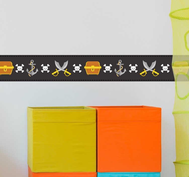 TenStickers. Naklejka - Piracki Pasek Dekoracyjny. Naklejka na ścianę dla dzieci w formie paska dekoracyjnego z elementami pirackimi.