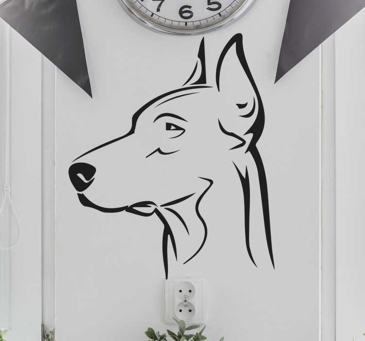 TenStickers. Wandtattoo Doberman. Schönes Wandtattoo mit dem Umrissen eines Portraits eines Dobermans. Für jeden Hundeliebhaber und Haustier Besitzer.