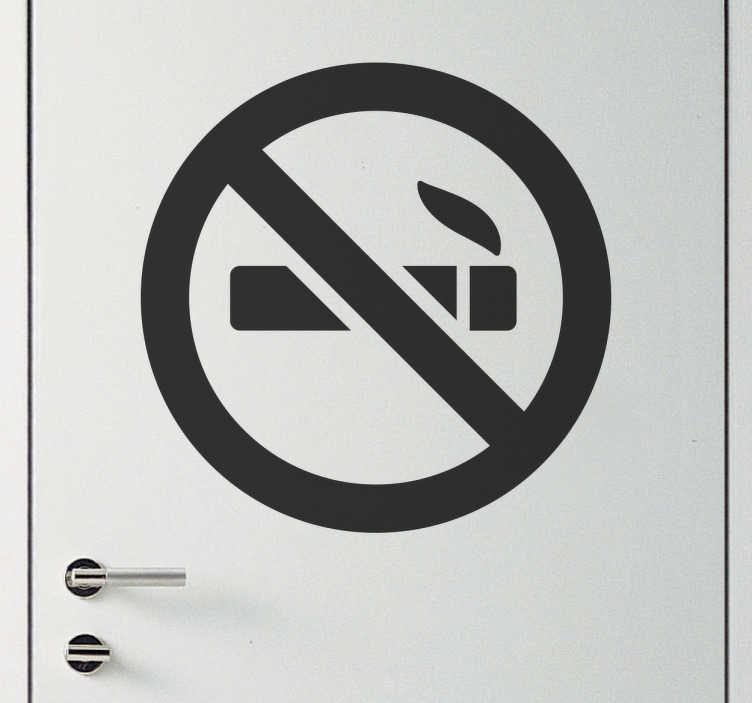 TenStickers. Autocolante proibido fumar. Autocolante proibido fumar. Autocolante para porta ou parede de grande qualidade, ideal para colocar no local onde não quer que fume, por bom preço.