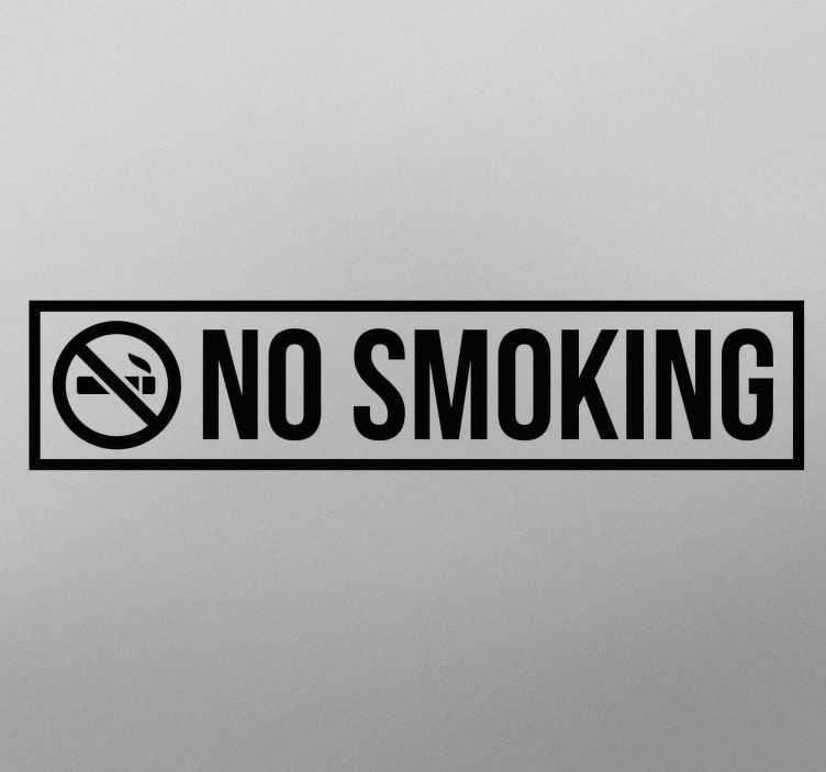 TenStickers. Muursticker No smoking. Deze sticker heeft een rechthoek met daarin een logo van een door gekruiste sigaret en de tekst ´no smoking´.