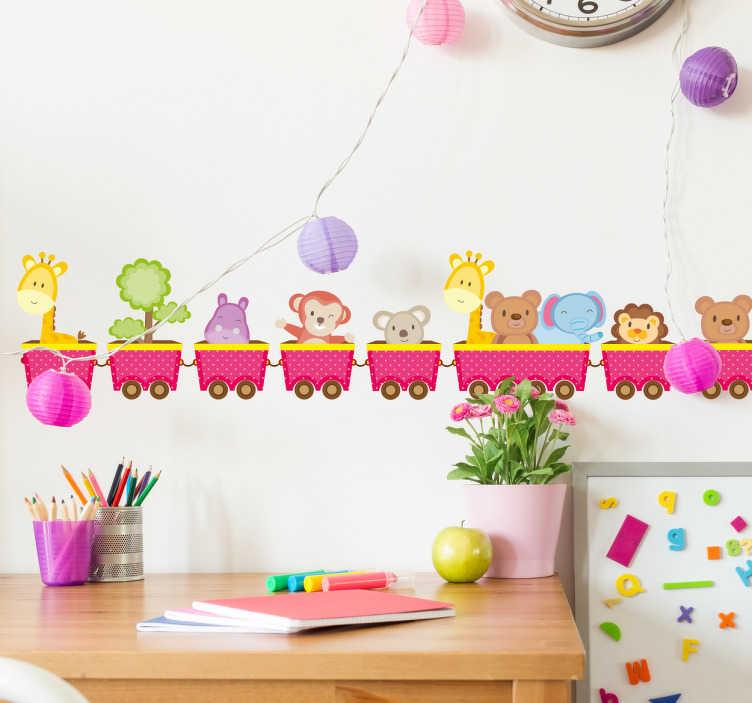 TenStickers. 동물 기차 아이들의 벽 스티커. 이 동물성 벽 스티커는 자녀의 침실, 유아실 또는 놀이방을 밝게하는 완벽한 디자인입니다. 자녀가 좋아하는 동물로 가득 찬 만화 기차가 특징입니다!