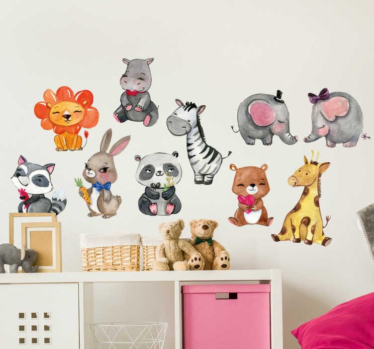 TenStickers. Naklejki - Zestaw Zwierząt. Kolorowe naklejki na ścianę dla dzieci przedstawiające zestaw zwierząt. Sprawdź nasze interesujące naklejki na ścianę zwierzęta.