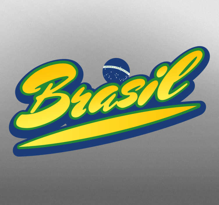 TenVinilo. Pegatina bandera de Brasil lettering. Vinilos brasileños originales para amantes del país carioca que deseen decorar las paredes de su cuarto o el chasis de su vehículo.
