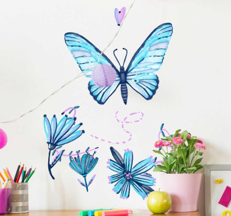 TenStickers. Muursticker kleurrijke vlinder. Deze sticker bevat een vlinder die weg vliegt van de bloemen, de sticker heeft mooie felle kleuren met blauw en paars en is zeer vrolijk.