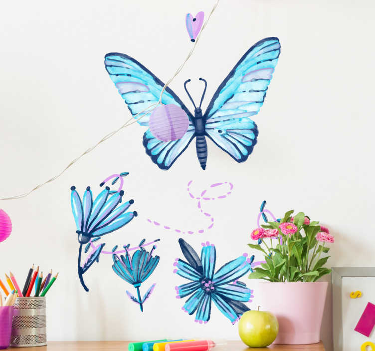 TenStickers. Klistermærke, sommerfugle. Klistermærke, sommerfugle - Virkelig smuk sommerfugle sticker!