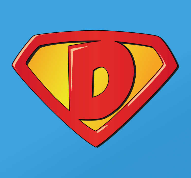 TenStickers. Adesivo per bambini super D. Adesivo per bambini con lo stemma di Superman e all'interno la lettera D