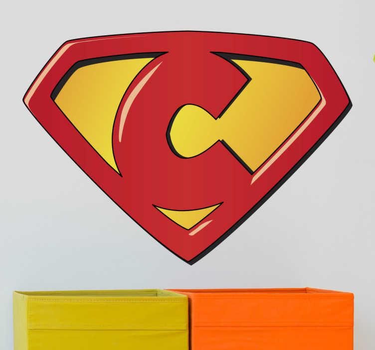 TenStickers. Naklejka dla dzieci Super C. Naklejka na ścianę dla dzieci z imieniem na literę C.