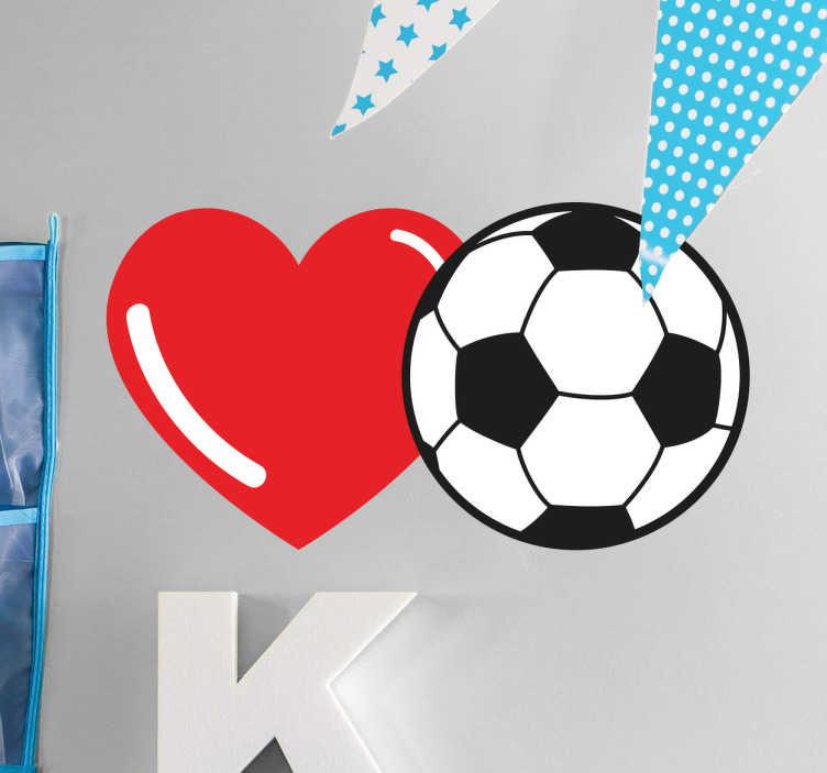 TenStickers. Adesivo cuore e pallone calcio. Adesivo murale immagine che rappresenta un pallone da calcio ed un cuore