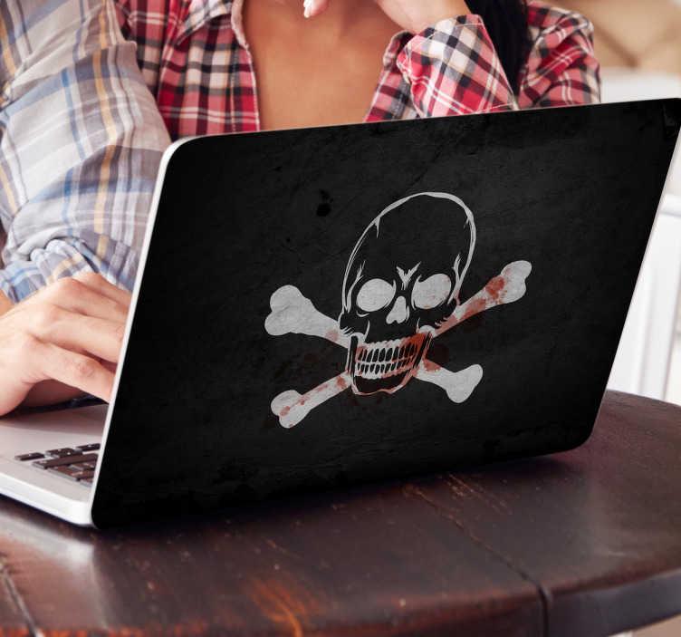 TenVinilo. Pegatina para portátil bandera pirata. Skin adhesivo para tu laptop con un rudo diseño que representa el emblema de la calavera y las tibias tan conocido.