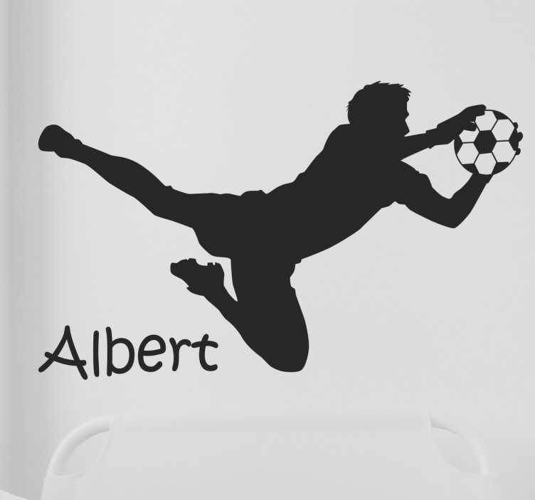 TenVinilo. Vinilo nombre personalizable portero. Vinilos de fútbol personalizables en la que aparece dibujada la silueta de un portero en plena estirada reteniendo una pelota de fútbol.
