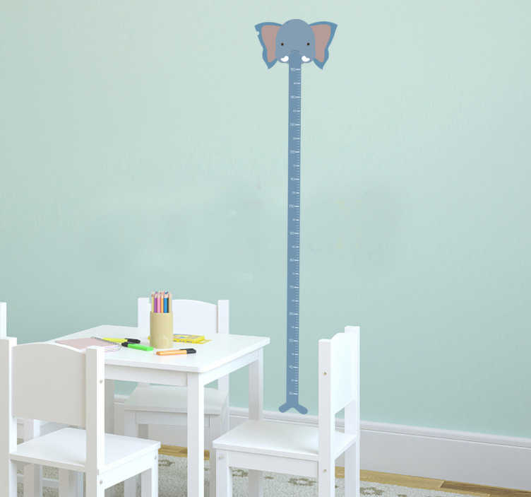 TenStickers. Muursticker olifant slurf. Een leuke muursticker van een groei liniaal voor kinderen in de vorm van een meetlat.