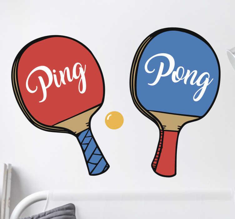 TenStickers. Naklejka - Ping Pong. Kolorowa naklejka na ściane dla wszystkich fanw tenisa stołowego. Naklejka przedstawia rakietki do ping ponga wraz z napisem.