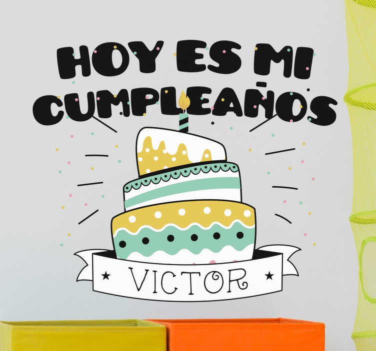 TenVinilo. Vinilo felicitaciones de cumpleaños personalizable. Desea un feliz cumpleaños a tu hijo o hija de una forma original y llamativa con un vinilo para su aniversario.