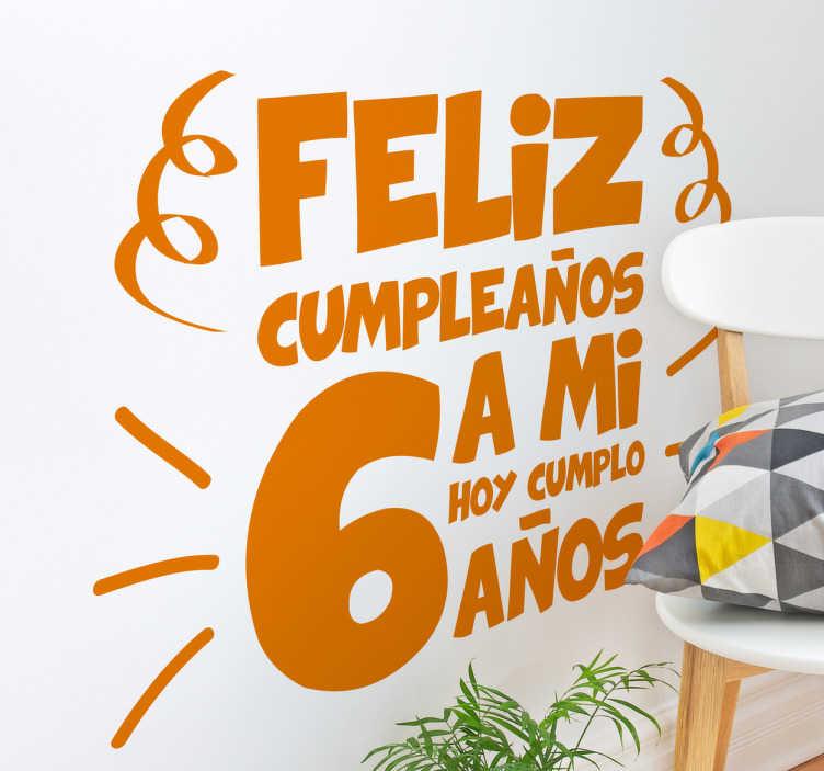 Vinilo infantil feliz cumpleaños a mi