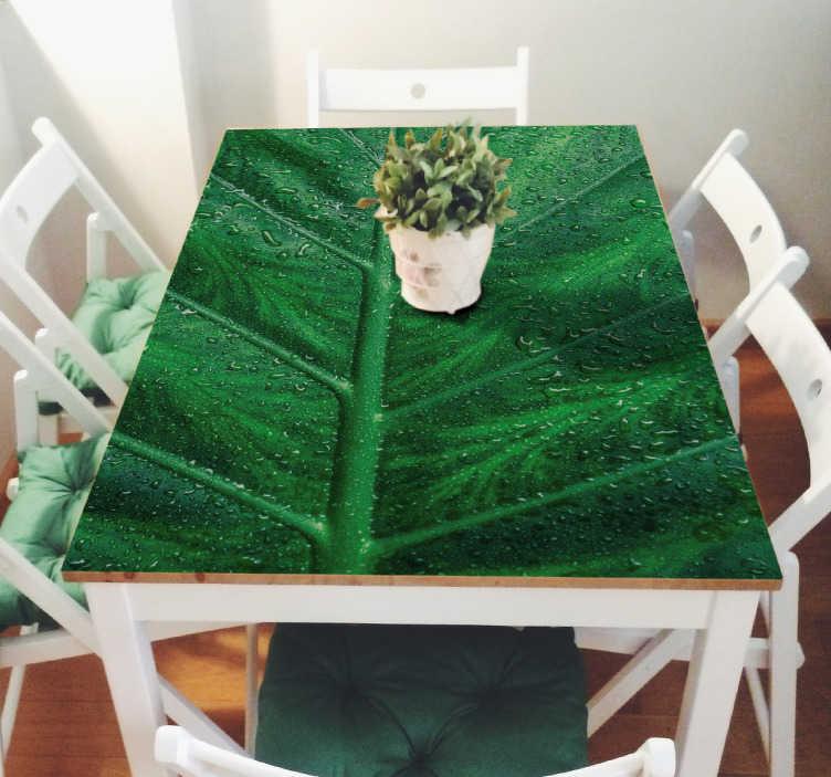 TenStickers. Aufkleber für Tisch mit Blatt. Schöner Möbelaufkleber mit dem Muster eines großen, grünen Blattes. Perfekt um alte Möbel aufzuwerten.