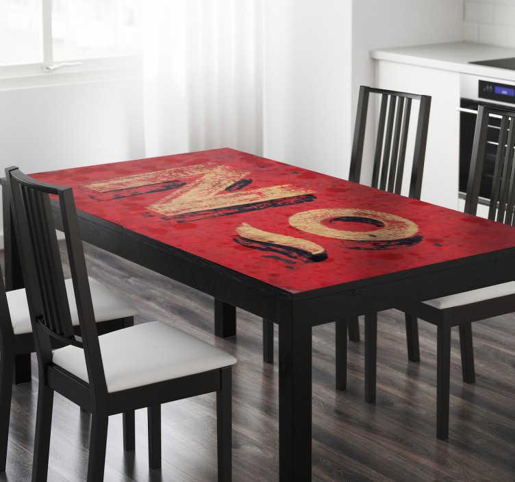 TenStickers. Stickers Ikea textuur nummers. De sticker bevat een rode achtergrond met een textuur afbeelding van een cijfer symbool. De stickers zijn speciaal gemaakt voor IKEA tafels