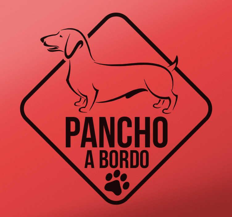 """TenVinilo. Adhesivo personalizable perro salchicha. Ahora ponemos a tu disposición una pegatina tipo """"a bordo"""" con el dibujo de tu animal de compañía favorito."""