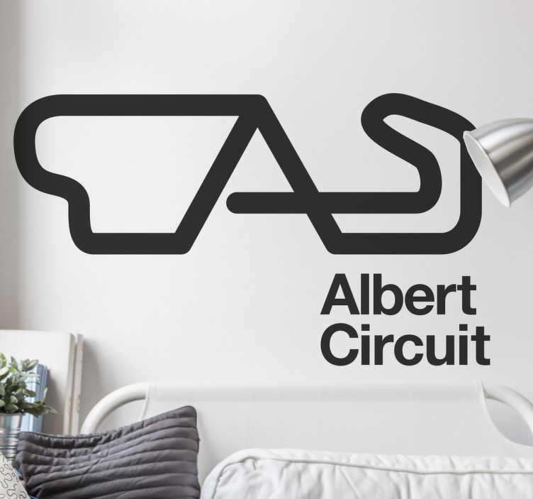 TenStickers. Autocolante decorativo Albert Circuit. Este autocolante decorativo ilustra a famosa pista de carros, Albert Circuit situada na Austrália, ideal para os fãs dos desportos motorizados.