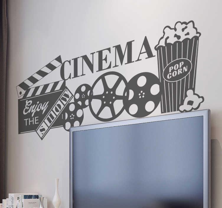 TenStickers. Wandtattoo Cinema. Cooles Wandtattoo mit dem Wort Cinema und verschiedenen Gegständen die das Kinogefühl hervorrufen.
