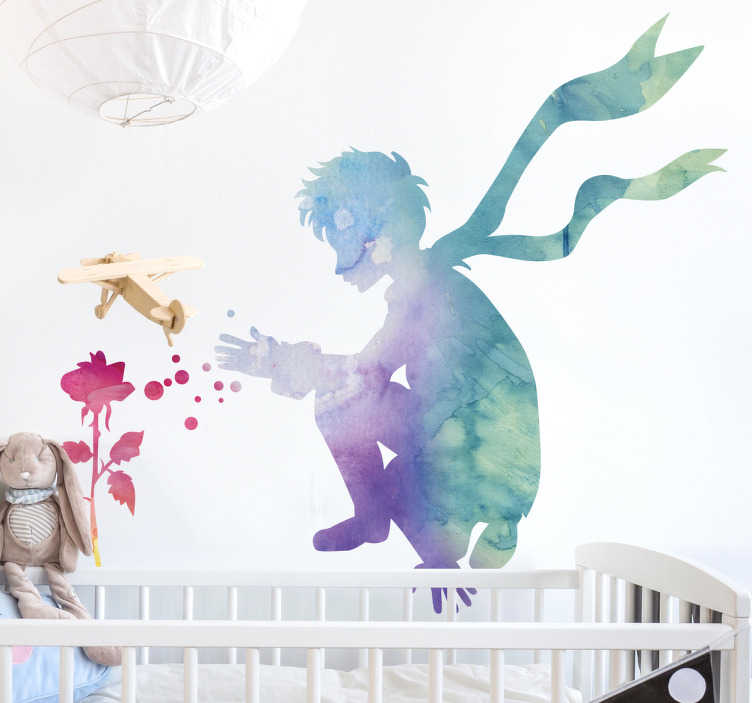 TenStickers. Wandtattoo kleiner Prinz mit Rose. Schönes Wandtatto für das Kinderzimmer mit dem kleinen Prinzen der vor einer Rose hockt.