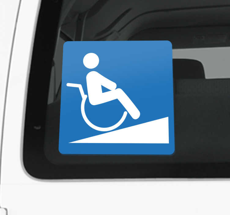 TenStickers. Sticker signalétique rampe handicapé. Signalez que les personnes en fauteuil roulant peuvent avoir accès à des rampes dédiées exclusivement pour eux avec ce sticker pratique et simple.