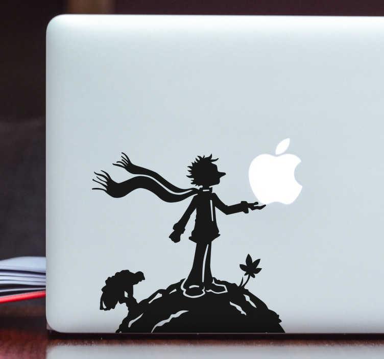TenStickers. MacBook Aufkleber Kleiner Prinz. Süßer Aufkleber für das MacBook mit dem kleinen Prinz, der das Apple Logo in den Händen hält.
