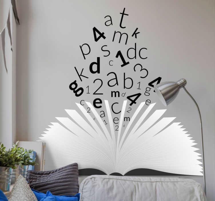 TenStickers. Sticker tete de lit livre. Sticker pour tete de lit au design original d'un livre ouvert dont des lettres et des numéros sortent du livre.