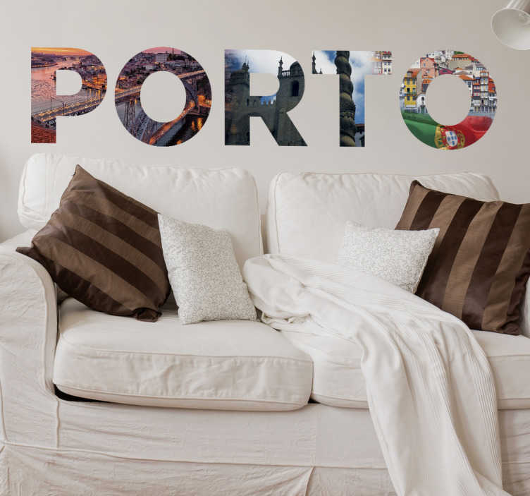 TenStickers. Vinilo decorativotexto Porto. Vinil autocolante decorativo Porto. Decora a tua sala com este vinil autocolante foto mural do Porto por um preço baixo.