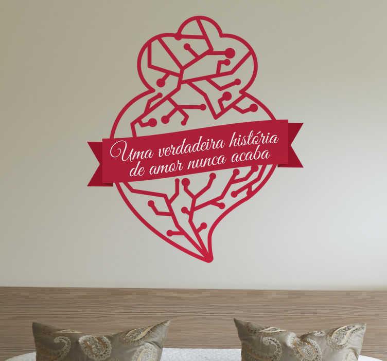 TenStickers. Autocolante Coração de Viana História de Amor. Vinil Coração de viana historia de amor. Decora o vosso quarto com este amoroso vinil autocolante de excelente qualidade e por um preço atrativo.