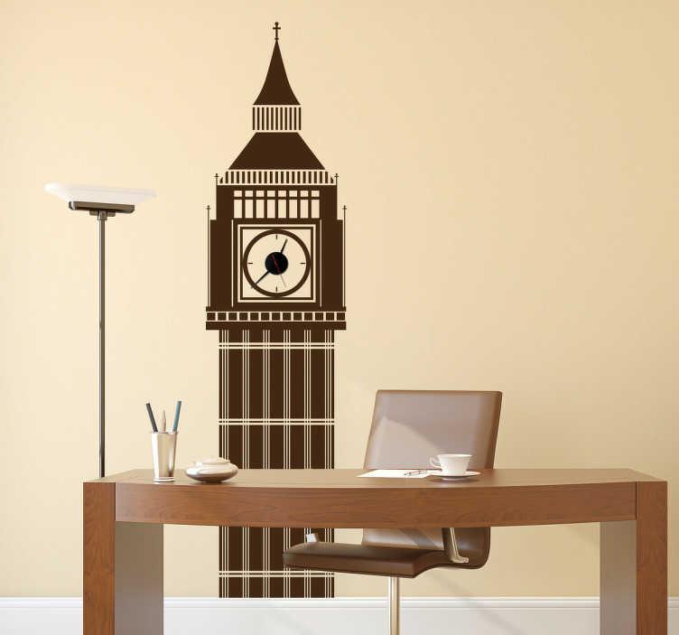 TenStickers. Big ben london sticker. Flot Big Ben sticker. Wallsticker af det ikoniske London klokketårn som vil passe perfekt til stuen eller kontoret.