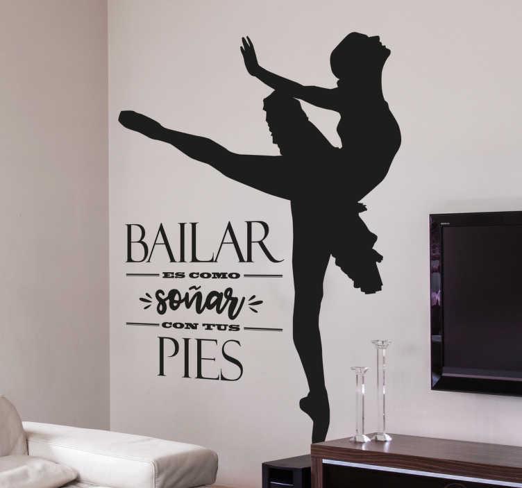TenVinilo. Vinilo frases bailar es soñar. Vinilos danza con diseño original y elegante, ideales para decorar las paredes de tu casa o para motivar a las alumnas de una academia de baile.