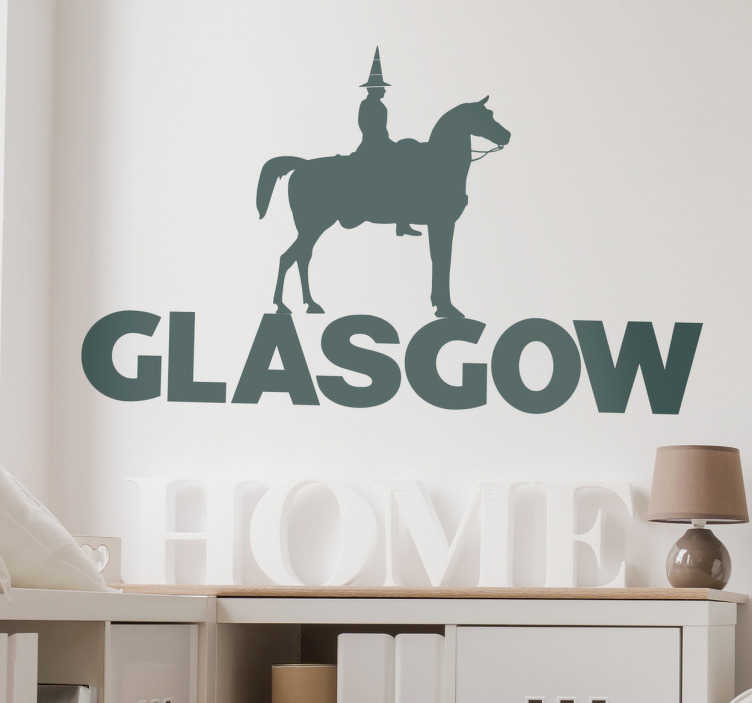 TenStickers. Glasgow Duke of Wellington Decorative Sticker. This Glasgow wall sticker is a Duke of Wellington decal, the famous statue in Royal Exchange Square, Glasgow, Scotland. The Scottish wall sticker shows Glasgow´s humour.
