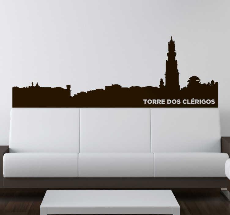TenStickers. Autocolante skyline Torre dos Clérigos. Vinil autocolante Torre dos Clérigos. Decora a tua casa com este vinil autocolante da cidade do Porto por um preço apelativo.