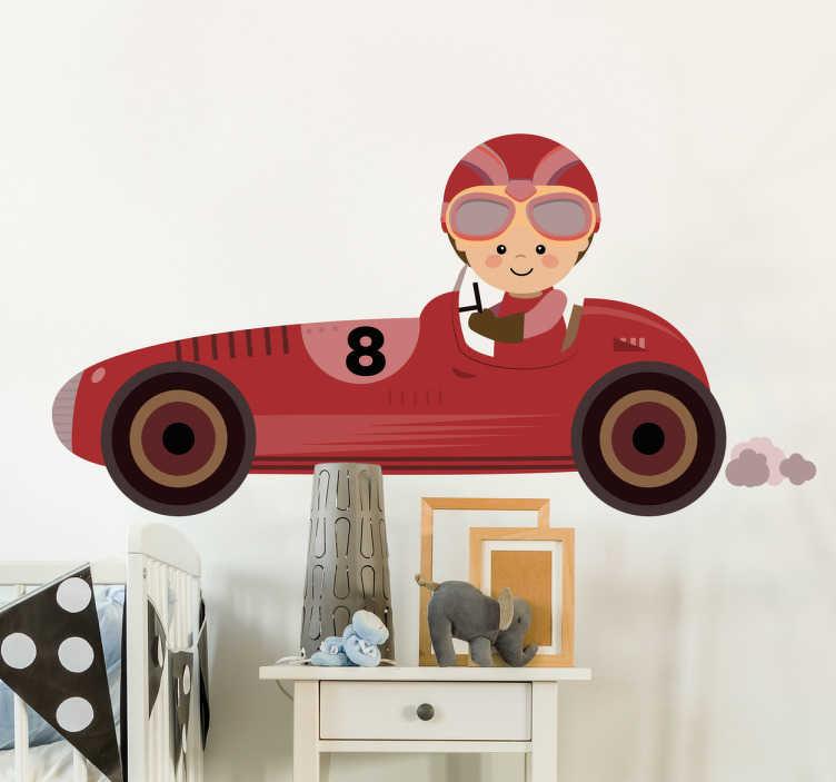 TenStickers. Naklejka dla dzieci - Formuła 1. Naklejka na ścianę dla dzieci przedstawiająca chłopca kierującego pojazdem z serii F1.