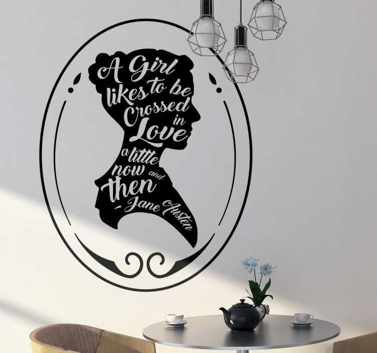 TenStickers. Muursticker quote Jane Austen. Een stijlvolle muursticker met een beroemd citaat van de klassieke auteur Jane Austen. Mooie wanddecoratie en een bron van inspiratie.
