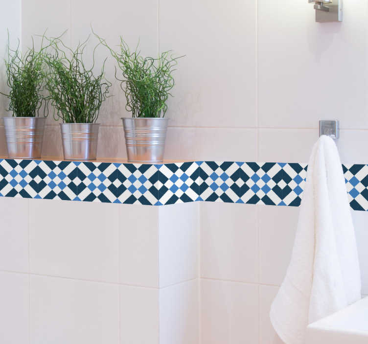 TenVinilo. Cenefa motivos geométricos Lisboa. Vinilo Lisboa que muestra una trama de formas y colores en tonos azules marinos vivos.