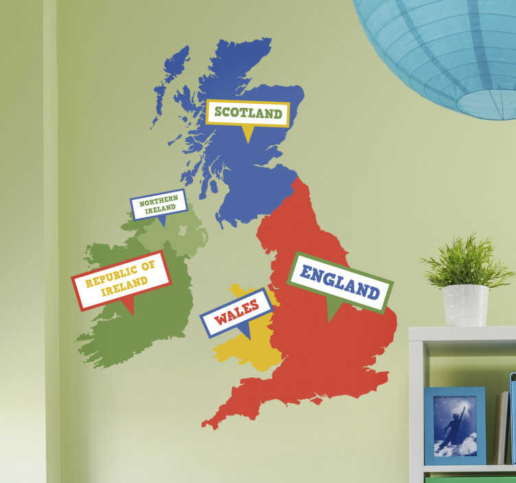 TenStickers. UK and Ireland Map Kids Wall Sticker.. A UK and Ireland wall sticker includes the map of United Kingdom and the Republic of Ireland for your home Each country is labelled and given different colours to easily identify where each is on the map decal .