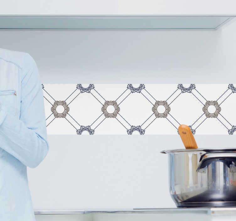 TenStickers. Adesivo piastrelle floreali. Adesivo piastrelle con motivi floreali ispirati nelle mattonelle portoghesi per decorare qualunque stanza della tua casa.