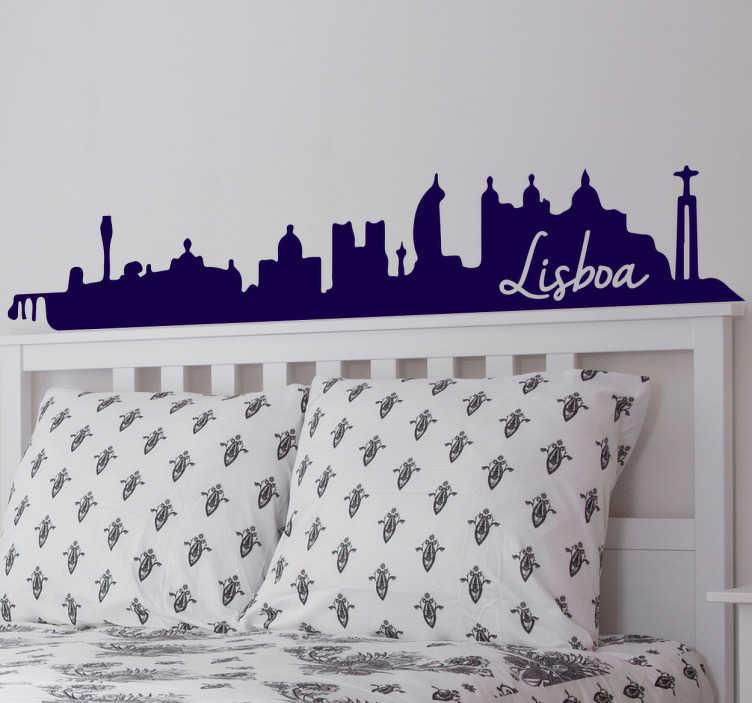 TenStickers. Adesivo skyline Lisbona. Adesivi Lisbona con lo skyline della capitale ed i suoi posti più emblematici.