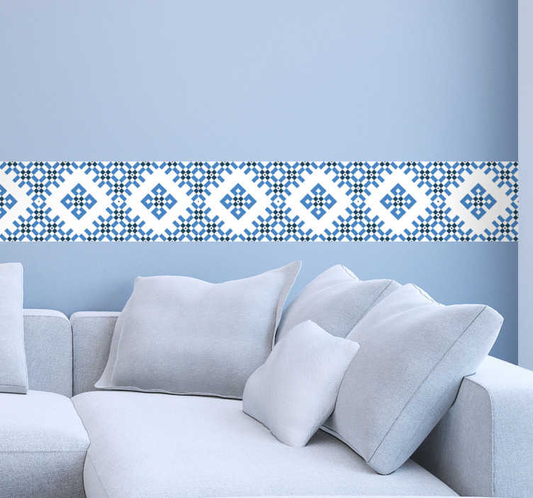 TenStickers. 파란색과 흰색 기하학적 인 타일 스티커. 귀하의 가정 및 타일을 장식하는 기하학적 인 파란색 타일 스티커. 이 독특한 디자인으로 모든 집 손님들에게 감동을 줄 수 있습니다.