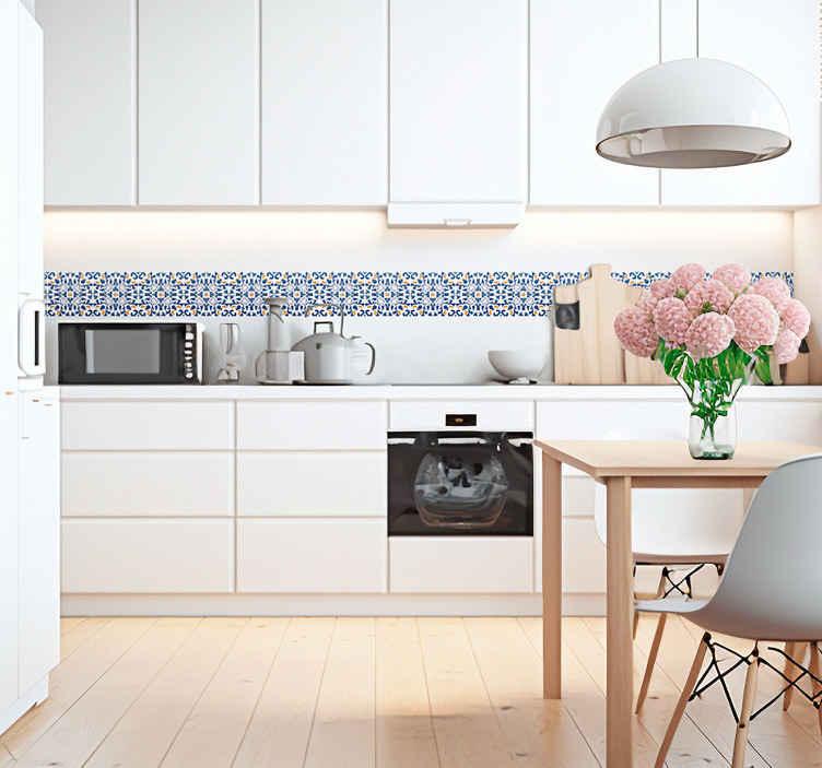 TENSTICKERS. ポルトガル語線細工のタイルステッカー. キッチンやバスルームのステッカーの境界線をタイルします。青い艶消仕上げの典型的なポルトガル語の模様を示す高品質のビニールデザイン。