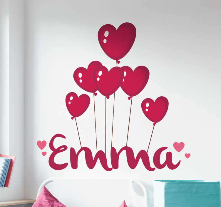 TenStickers. Customisable Balloons Kids Wall Sticker. Personalised kids wall sticker showing the name of your choice floating below a bunch of red heart shaped balloons. Decorate your child's bedroom or nursery in a way that feels personal to them with this beautiful hearts wall sticker.