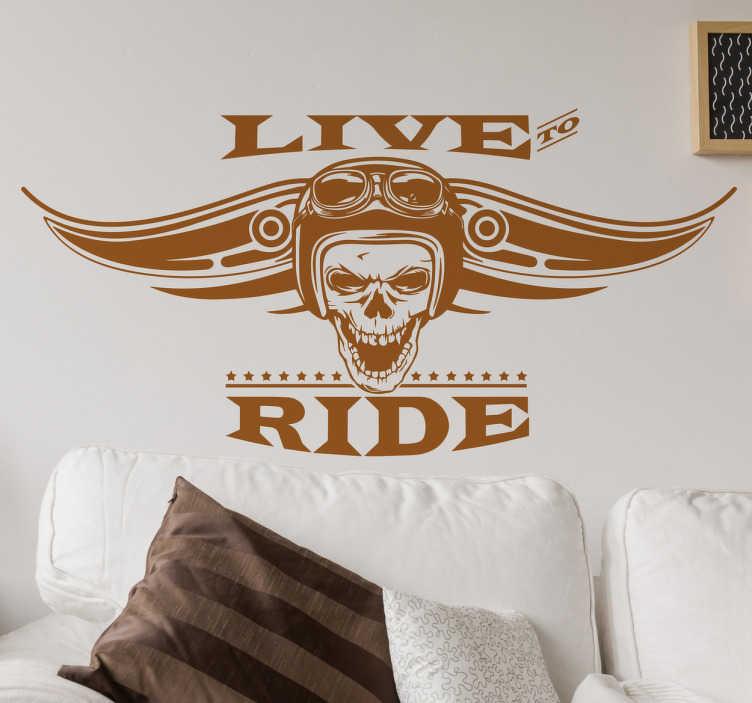 """TenStickers. Muursticker live and ride. """"Live To Ride"""". Een muursticker van een doodshoofd met een Viking helm, ideaal voor de woningen van motorrijders. Voordelig personaliseren."""