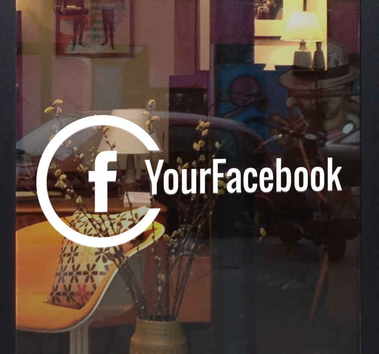 TenStickers. Adesivo para vidro personalizado do Facebook. Adesivo para vidrode qualidade para colocar na montra  da sua loja de forma a informar os seus clientes que pode segui-lo através doFacebook.