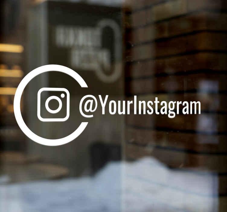 TenVinilo. Vinilo para negocios instagram. Pegatinas para tiendas con un círculo y el logo de Instagram acompañando un texto que podrás editar.