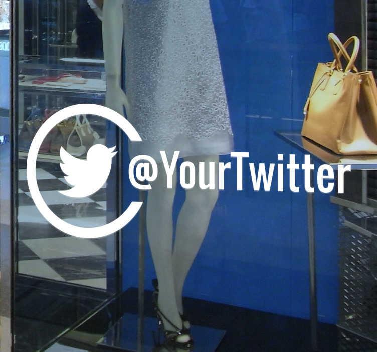 TenStickers. Naklejka dla firm - Twitter. Naklejka na ścianę lub witrynę dla firm z personalizowaną nazwą konta na Twitterze.