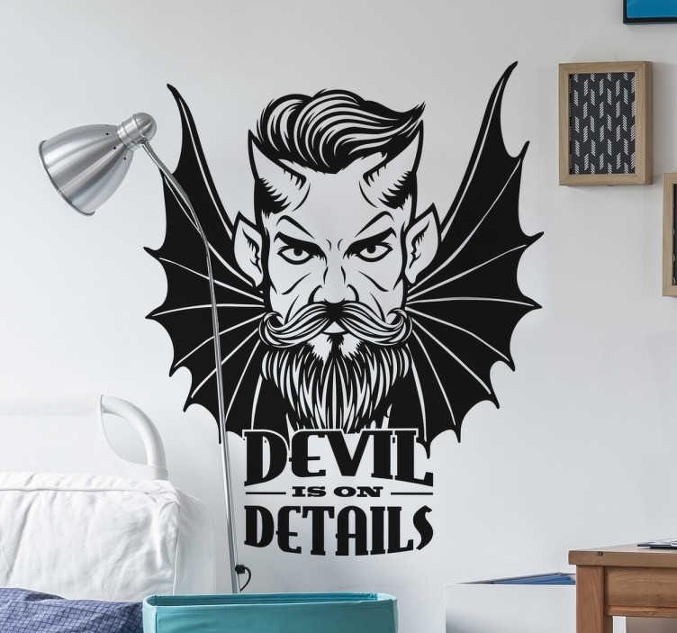 TenStickers. Vinil juvenil demonio. Vinil juvenile Devil is on details. Decora o teu espaço com este original vinil autocolante de qualidade e por um preço económico.